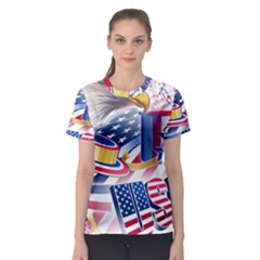 United States Of America Usa  Images Independence Day Women s Sport Mesh Tee