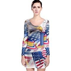 United States Of America Usa  Images Independence Day Long Sleeve Bodycon Dress