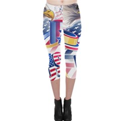 United States Of America Usa  Images Independence Day Capri Leggings