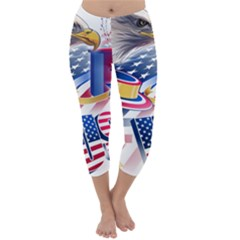 United States Of America Usa  Images Independence Day Capri Winter Leggings