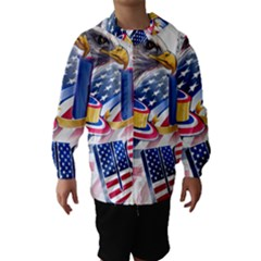 United States Of America Usa  Images Independence Day Hooded Wind Breaker (Kids)