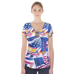 United States Of America Usa  Images Independence Day Short Sleeve Front Detail Top