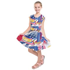 United States Of America Usa  Images Independence Day Kids  Short Sleeve Dress