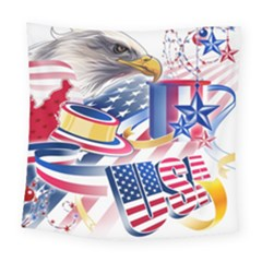 United States Of America Usa  Images Independence Day Square Tapestry (large)