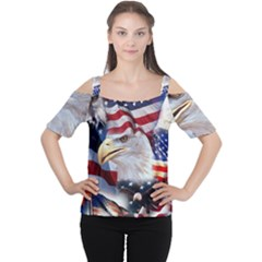 United States Of America Images Independence Day Women s Cutout Shoulder Tee