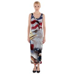United States Of America Images Independence Day Fitted Maxi Dress