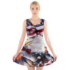 United States Of America Images Independence Day V Neck Sleeveless Skater Dress