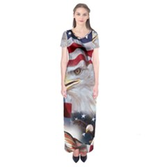 United States Of America Images Independence Day Short Sleeve Maxi Dress
