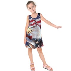 United States Of America Images Independence Day Kids  Sleeveless Dress