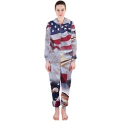 United States Of America Images Independence Day Hooded Jumpsuit (Ladies)