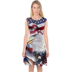 United States Of America Images Independence Day Capsleeve Midi Dress