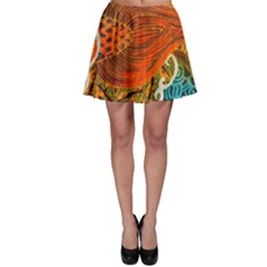 The Beautiful Of Art Indonesian Batik Pattern Skater Skirt