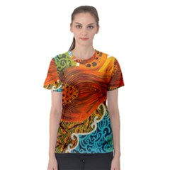 The Beautiful Of Art Indonesian Batik Pattern Women s Sport Mesh Tee