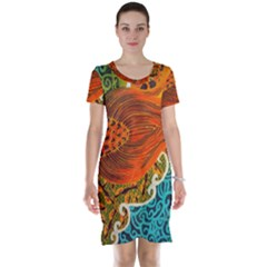 The Beautiful Of Art Indonesian Batik Pattern Short Sleeve Nightdress