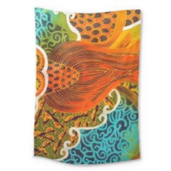 The Beautiful Of Art Indonesian Batik Pattern Large Tapestry
