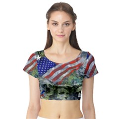 Usa United States Of America Images Independence Day Short Sleeve Crop Top (tight Fit)
