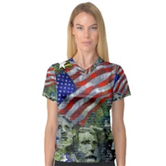 Usa United States Of America Images Independence Day Women s V-Neck Sport Mesh Tee