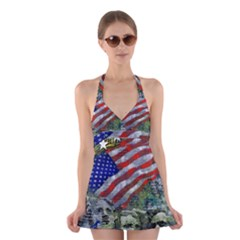 Usa United States Of America Images Independence Day Halter Swimsuit Dress