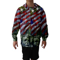 Usa United States Of America Images Independence Day Hooded Wind Breaker (Kids)