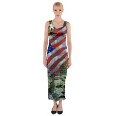 Usa United States Of America Images Independence Day Fitted Maxi Dress