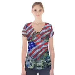 Usa United States Of America Images Independence Day Short Sleeve Front Detail Top
