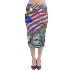 Usa United States Of America Images Independence Day Velvet Midi Pencil Skirt