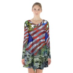 Usa United States Of America Images Independence Day Long Sleeve Velvet V Neck Dress