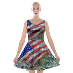 Usa United States Of America Images Independence Day Velvet Skater Dress