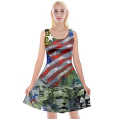 Usa United States Of America Images Independence Day Reversible Velvet Sleeveless Dress