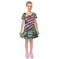 Usa United States Of America Images Independence Day Kids  Short Sleeve Velvet Dress