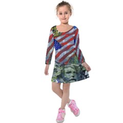 Usa United States Of America Images Independence Day Kids  Long Sleeve Velvet Dress
