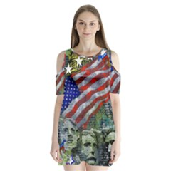 Usa United States Of America Images Independence Day Shoulder Cutout Velvet  One Piece