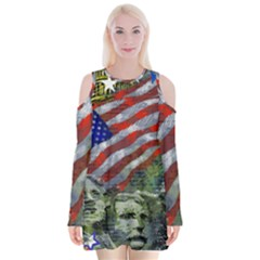 Usa United States Of America Images Independence Day Velvet Long Sleeve Shoulder Cutout Dress