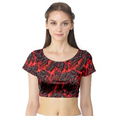 Volcanic Textures Short Sleeve Crop Top (tight Fit)