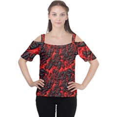 Volcanic Textures Women s Cutout Shoulder Tee