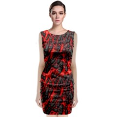 Volcanic Textures Sleeveless Velvet Midi Dress