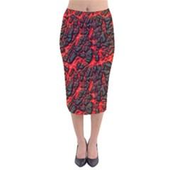Volcanic Textures Velvet Midi Pencil Skirt