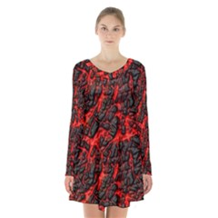 Volcanic Textures Long Sleeve Velvet V Neck Dress