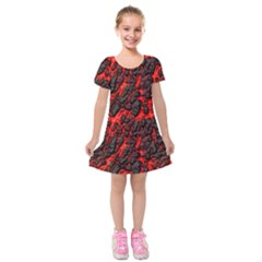 Volcanic Textures Kids  Short Sleeve Velvet Dress
