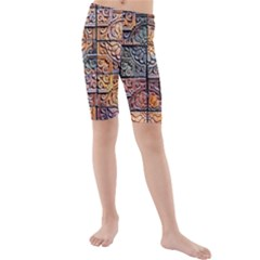 Wooden Blocks Detail Kids  Mid Length Swim Shorts