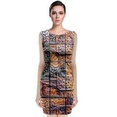 Wooden Blocks Detail Sleeveless Velvet Midi Dress