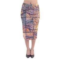 Wooden Blocks Detail Velvet Midi Pencil Skirt