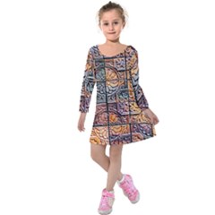 Wooden Blocks Detail Kids  Long Sleeve Velvet Dress