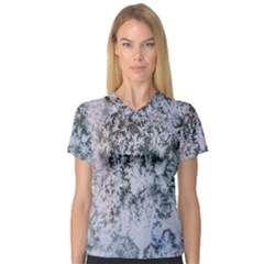 Frosted Winter Texture Women s V-Neck Sport Mesh Tee