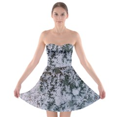 Frosted Winter Texture Strapless Bra Top Dress