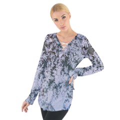 Frosted Winter Texture Women s Tie Up Tee