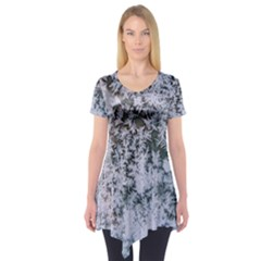 Frosted Winter Texture Short Sleeve Tunic