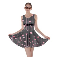 Pink Hearts On Black Background Skater Dress