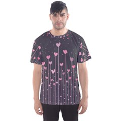 Pink Hearts On Black Background Men s Sport Mesh Tee
