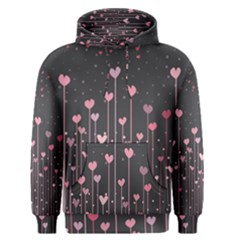 Pink Hearts On Black Background Men s Pullover Hoodie